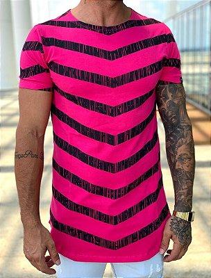 Camiseta Longline Hot Pink Stripes - Kawipii