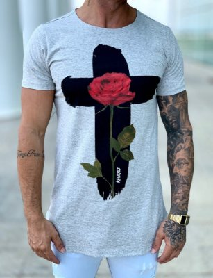 Camiseta Grey Longline Cruz Flower - Kawipii