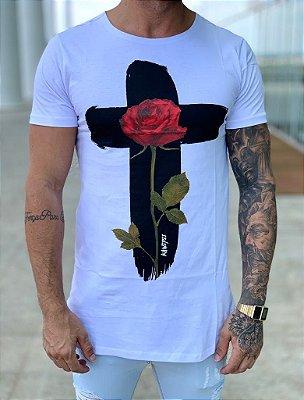 Camiseta White Longline Cruz Flower - Kawipii