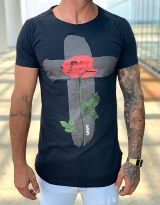 Camiseta Black Longline Cruz Flowers - Kawipii
