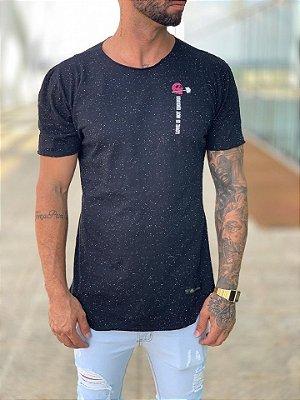 Camiseta Longline Botonê Black/White Skull - Kreta