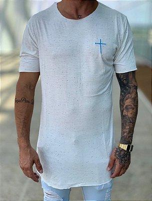Camiseta Longline Botonê White Cruz - Kreta