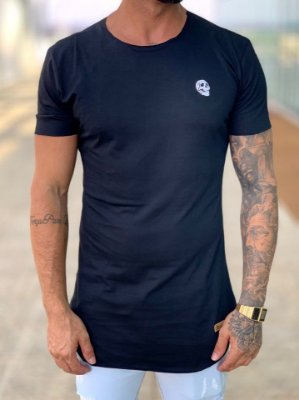 Camiseta Longline Black Logo Caveira - Kreta