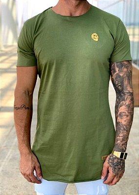 Camiseta Longline Verde Militar Logo Caveira - Kreta