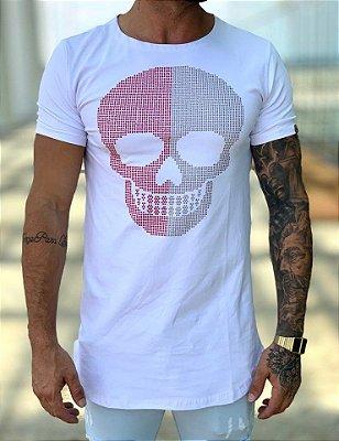 Camiseta Longline White Skull Strass Meio a Meio - Kawipii