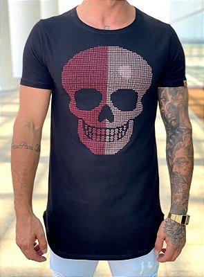 Camiseta Longline Black Skull Strass Meio a Meio - Kawipii