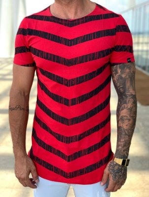 Camiseta Longline Red Stripes - Kawipii