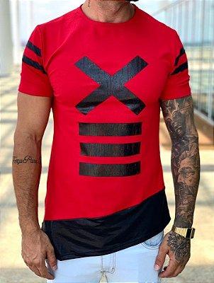 Camiseta Longline Red X Diagonal - Kawipii