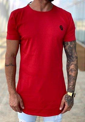 Camiseta Longline Vermelha Básica Caveira - Kreta