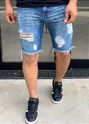Bermuda Jeans Médio Respingos Colors - Degrant