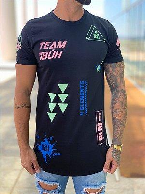 Camiseta Longline Full Elementos Preto - Buh