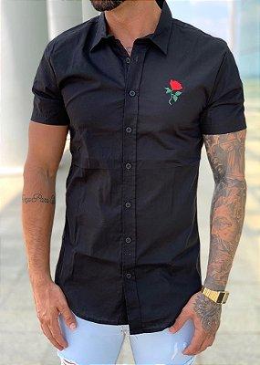 Camisa Manga Curta Black Rosa - Kreta