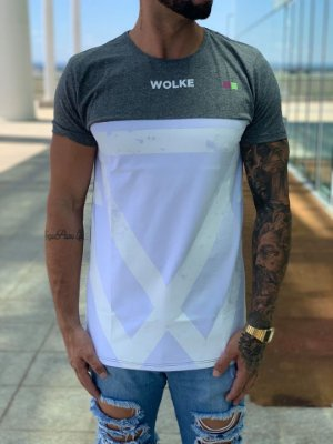 T-Shirt Long Recorte Horizontal White Grunge - Wolke