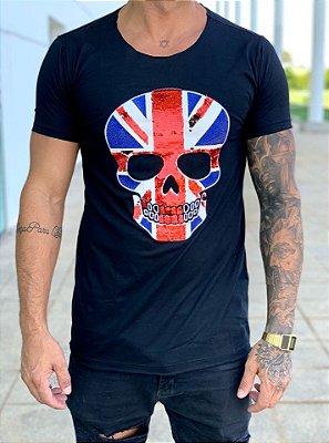 Camiseta Longline Black Skull Paetê England - John Jones