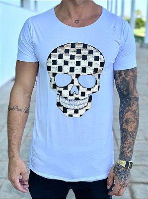 Camiseta Longline White Paetê Skull Golden Grid - John Jones