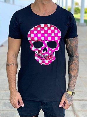 Camiseta Longline Black Paetê Pink Skull Grid