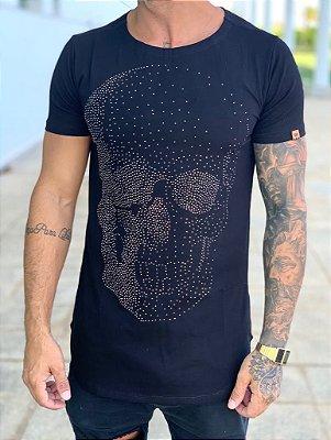 Camiseta Longline Black Skull Strass - Kawipii