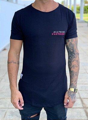 Camiseta Longline Black Seven Flower - Alltribe