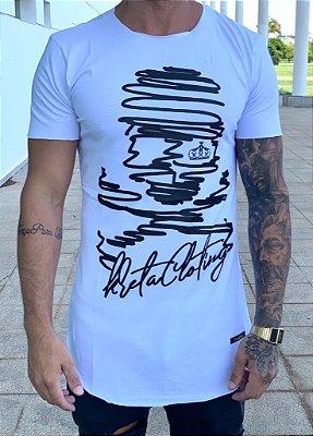Camiseta Longline White Pirate Stickers - Kreta