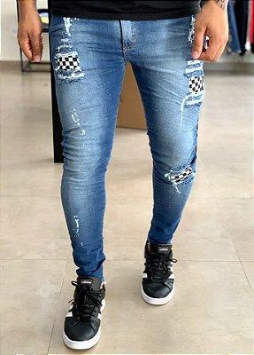 Calça Jeans Skinny C/Forro Quadriculado - City Denim
