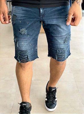 Bermuda Jeans Dark Biker Destroyed - John Jones