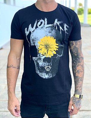 T-shirt Flower Skull - Wolke