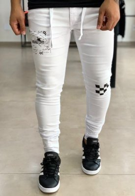 Calça White Skinny Checkered - Hundred Limit