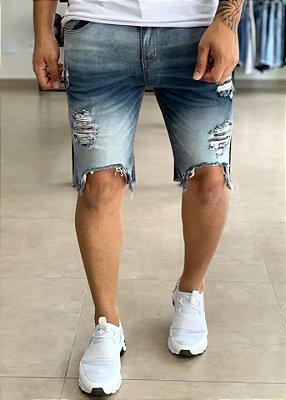 Bermuda Jeans Destroyed Sobretinto Barra - Creed Jeans