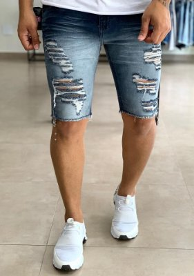 Bermuda Jeans Hiper Destroyed Sobretinto  - Creed Jeans