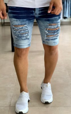 Bermuda Jeans Super Skinny 3d Destroyed - Exalt Urban