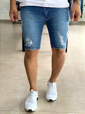 Bermuda Jeans Super Skinny Desfiada - Exalt Urban