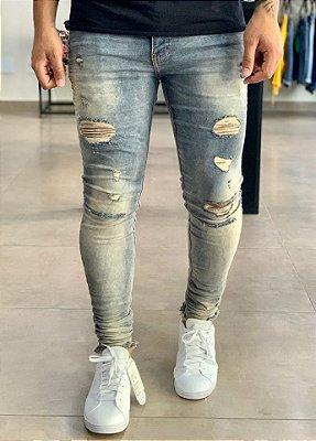 Calça Jeans Skinny Destroyed Sky Ecozol - Degrant
