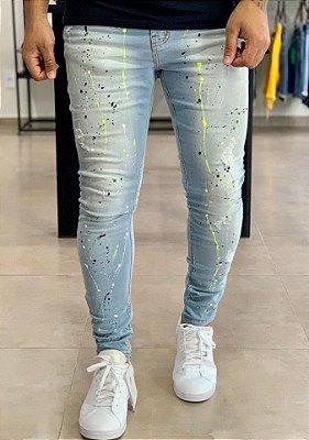Calça Jeans Skinny Claro Respingos Color - Degrant