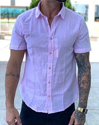 Camisa Linho Manga Curta Pink - Ankor