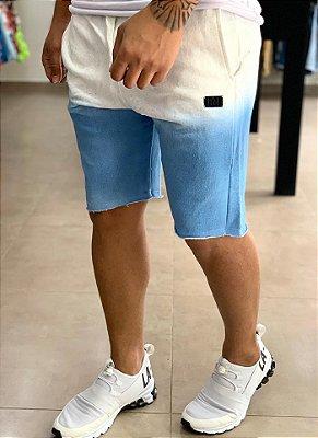 Bermuda Moletom Degradê Branco e Azul - Buh