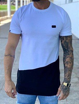 Camiseta Longline Placa Bicolor Branco - Buh