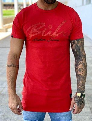Camiseta Longline Red Glitter - Buh