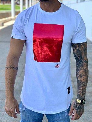 Camiseta Longline Square Foil Branco - Buh