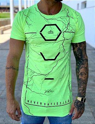 Camiseta Longline Verde Neon Raios - Kreta