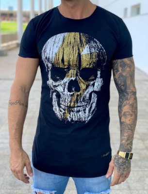 Camiseta Longline Black Caveira & Raio - Kreta