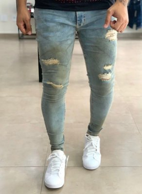 Calça Jeans Skinny Destroyed Dirty - Creed Jeans