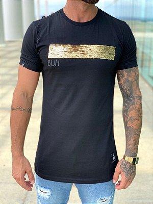 Camiseta Longline Line Black Paetê - Buh