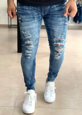 Calça Jeans Azul Manchado Skinny Destroyed  - Creed Jeans