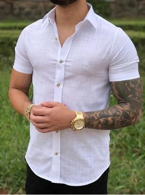 Camisa Manga Curta White Flamê - FB Clothing