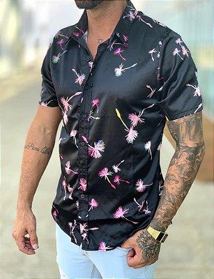 Camisa Acetinado Manga Curta Flowers - Exalt Urban
