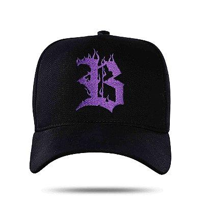 Boné Snapback Purple Black Logo Flames - BLCK