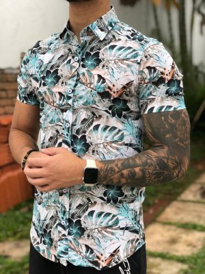 Camisa Manga Curta Leafs White Colors - Fb Clothing