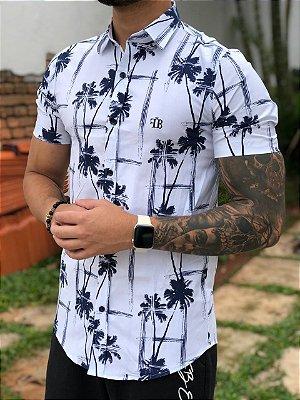 Camisa Manga Curta Palm White an Blue - Fb Clothing