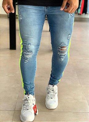 Calça Jeans Skinny Destroyed Faixa Verde Neon - Codi Jeans