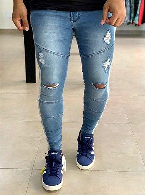 Calça Jeans Skinny Destroyed Recortes & Faixa - Codi Jeans
